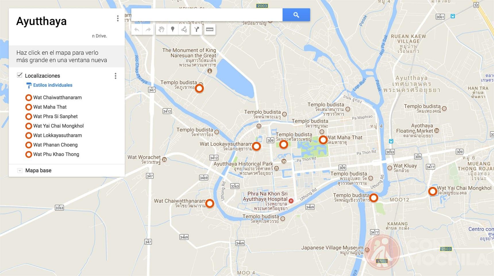 Mapa Ayutthaya