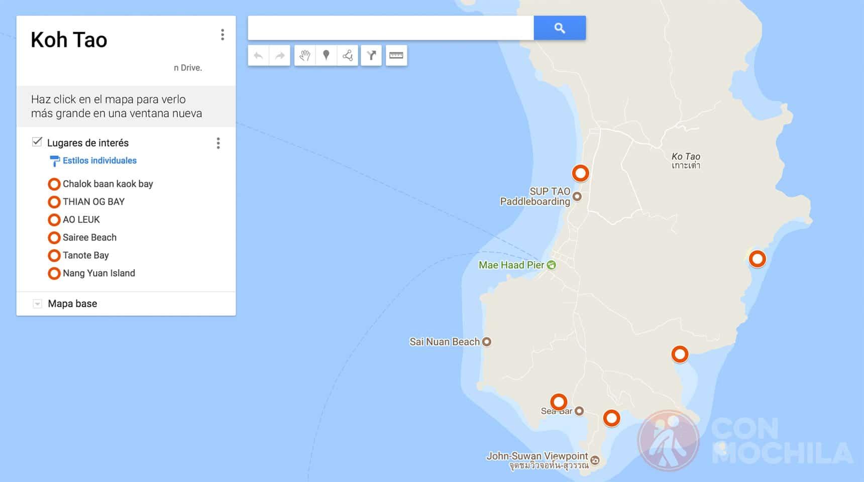 Mapa de Ko Tao