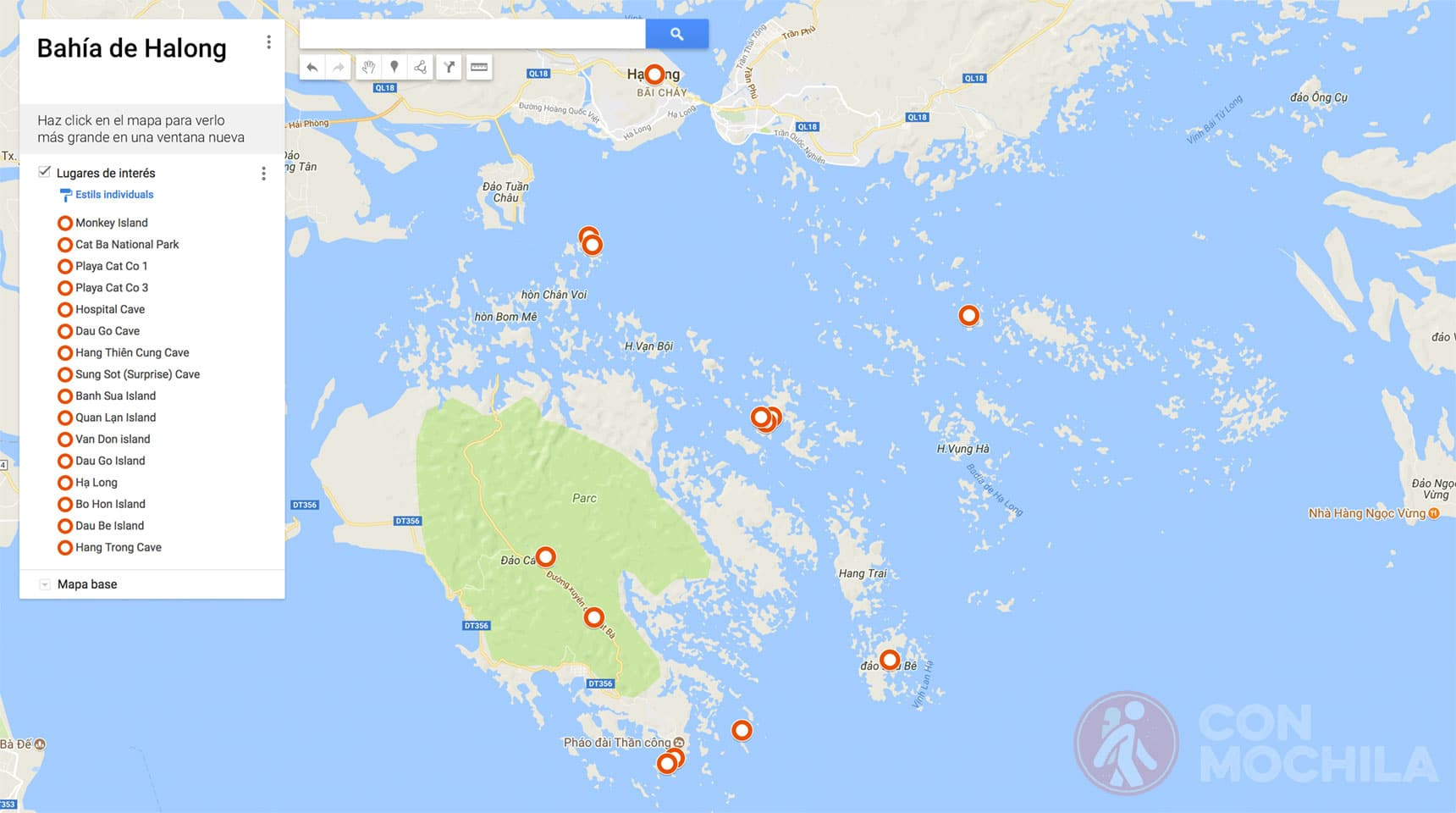 mapa Bahia de Halong
