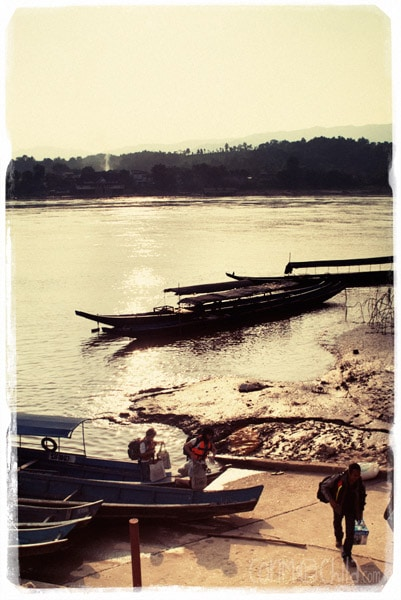 Boats to cross the Mekong River