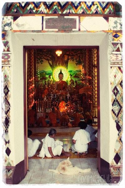 Monks and nuns at the Wat Jom Khao Manilat