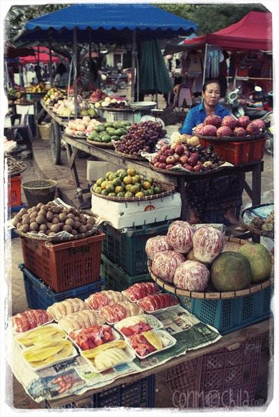 Detalle de un puesto de frutas