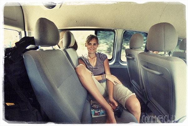 En el interior de la furgoneta