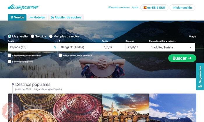 Buscando el vuelo a Tailandia con Skyscanner