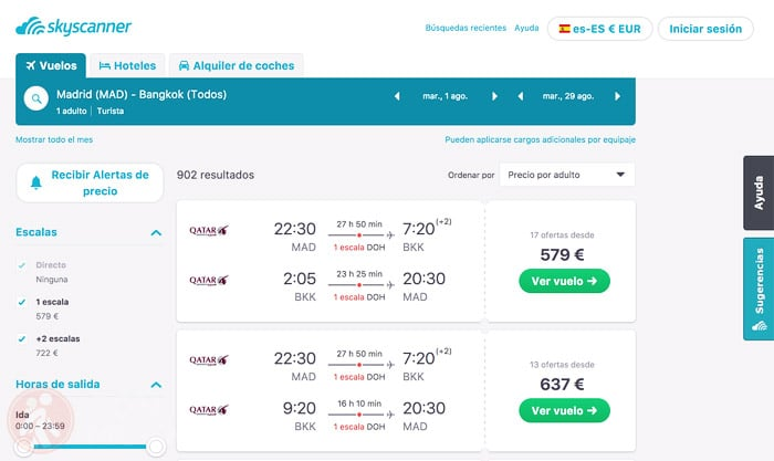 Los diferentes vuelos de Madrid a Bangkok