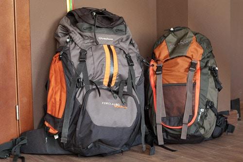 Diferencia de tamaño entre la mochila de 40L (derecha) con la de 60L