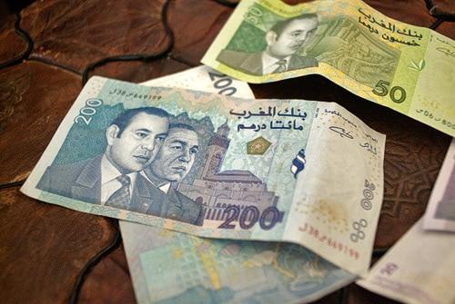 Detalle de los billetes de Marruecos