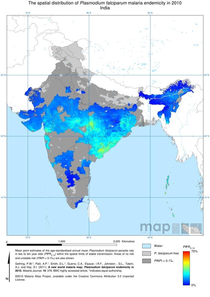 Mapa de la malaria en India