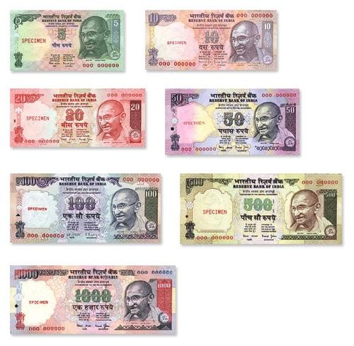Billetes de 5, 10, 20, 50, 100, 500 y 1000 rupias