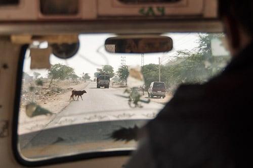 Camino del templo con el rickshaw (y los camiones...)