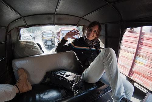En el interior del rickshaw camino de Orchha