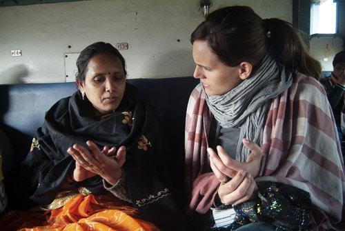 Conversando con la madre de la futura enfermera