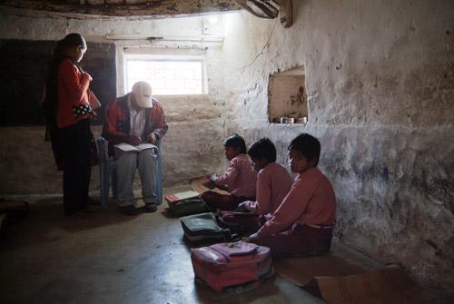 Los niños en la pequeña aula de estudio