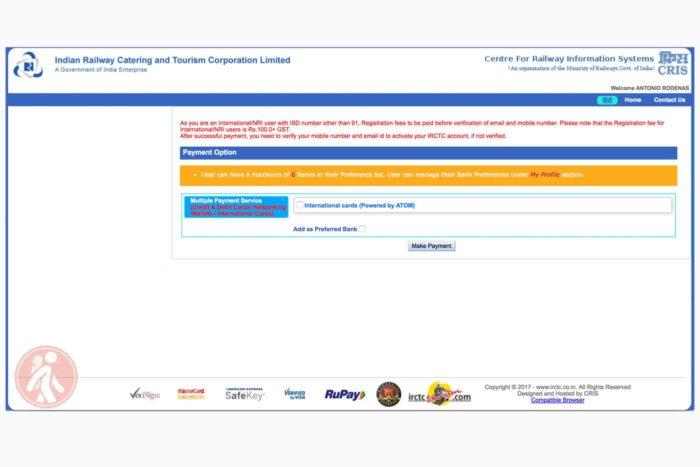Página para realizar el pago de las 100rs + tasas