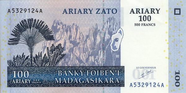 Billete 100 ariary (delante)