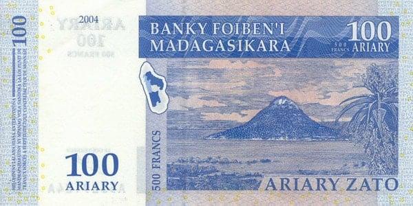 Billete 100 ariary (detrás)