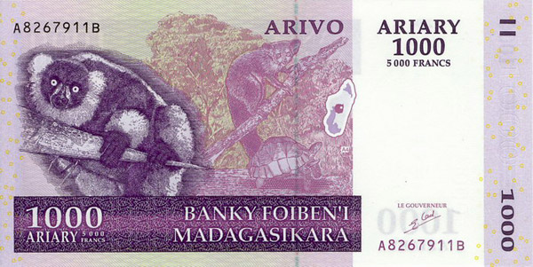 Billete 1000 ariary (delante)
