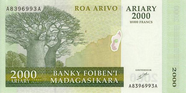 Billete 2000 ariary (delante)