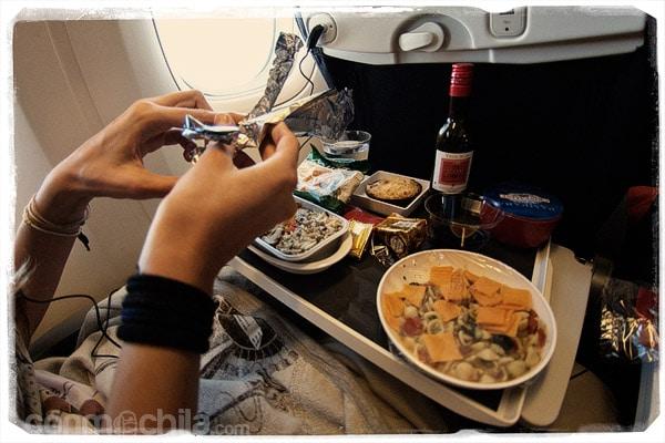 La cena en el avión