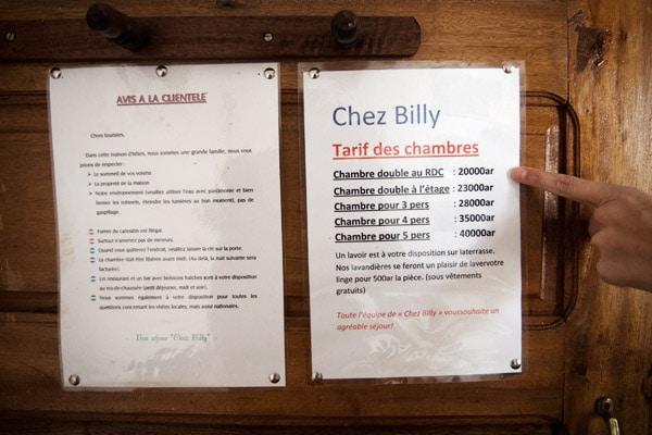 Precios del alojamiento de Chez Billy