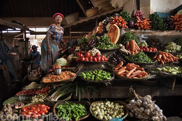 La señora con su puesto de fruta y verdura