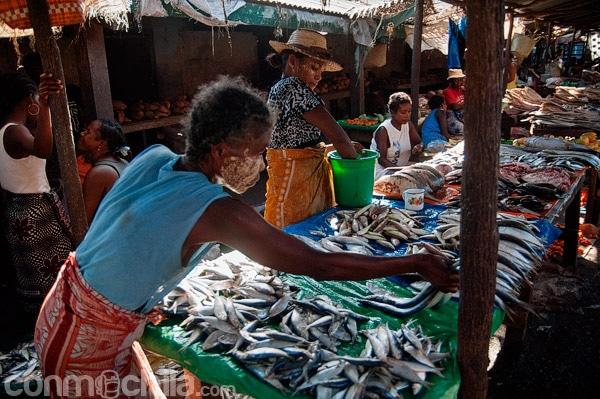 Puesto de pescado en el mercado de Morondava