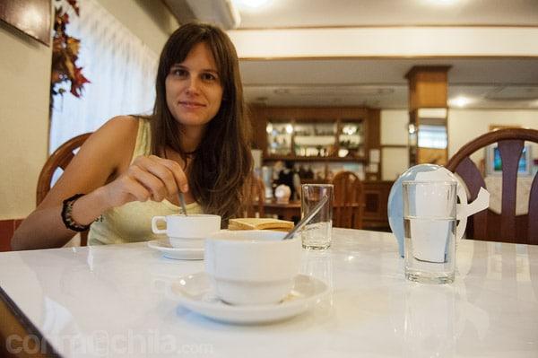 El desayuno en el restaurante