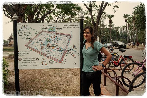 El mapa de los templos de Sukhothai