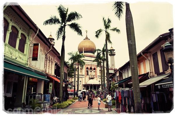La mezquita del Sultán con la calle peatonal que tiene en frente
