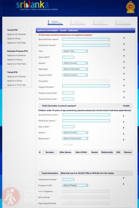 Formulario visa Sri Lanka