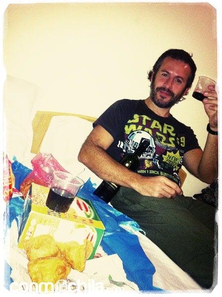 La cena, con vino incluido :-)