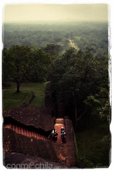 Vista de la escalera y los jardines al fondo