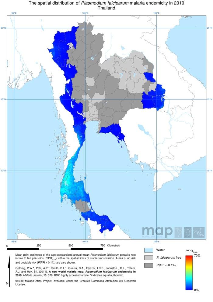 Mapa de la malaria en Tailandia