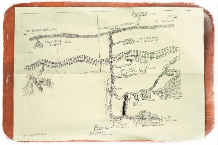 El mapa que nos dió el dueño de la guesthouse