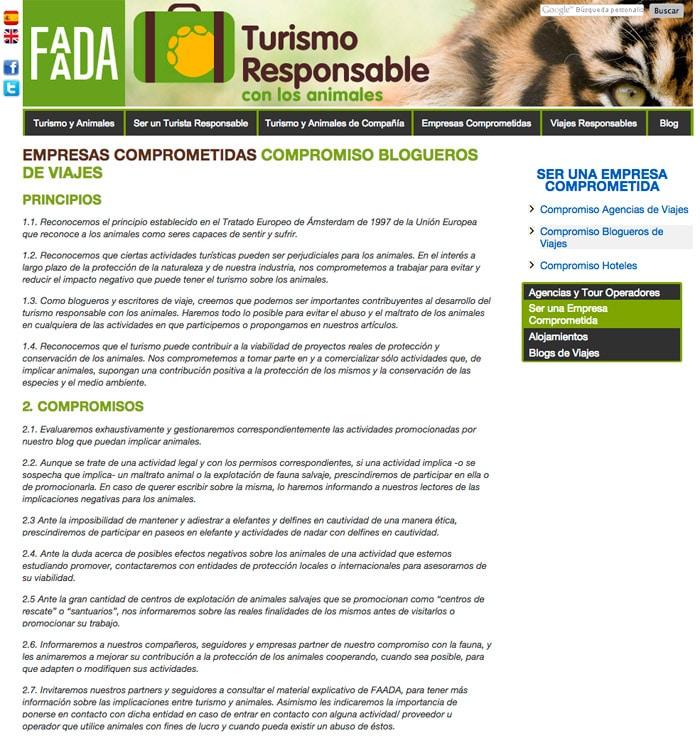 Compromisos en la web de FAADA