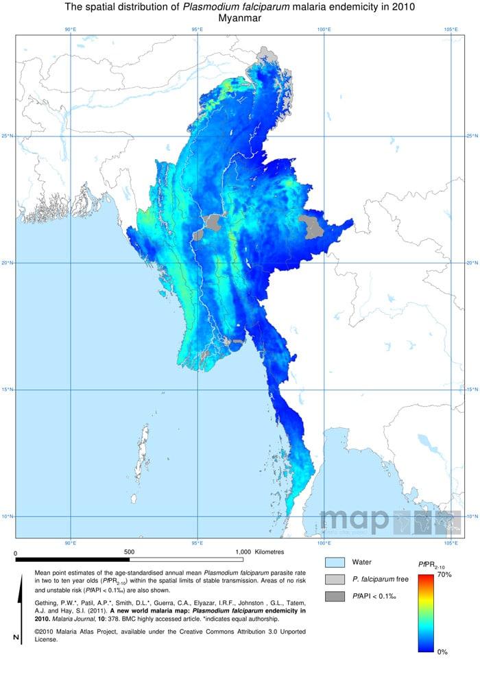 Mapa de la malaria en Myanmar