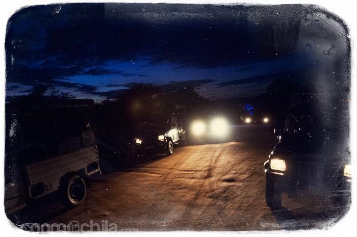 La llegada de noche al parque