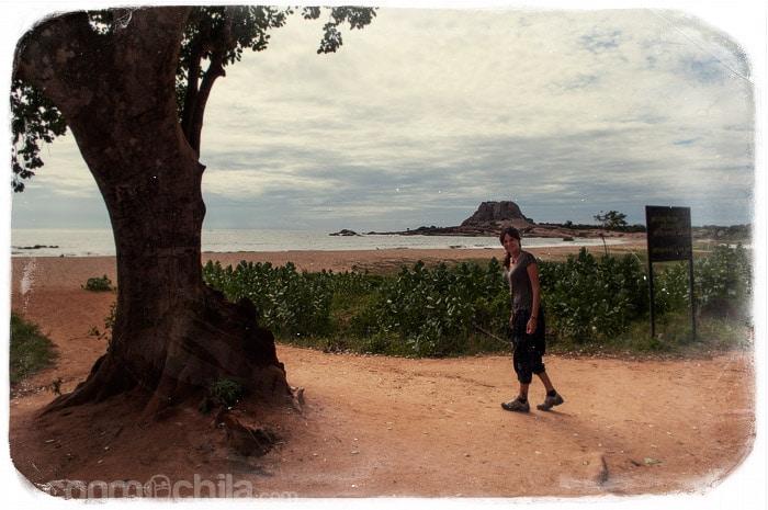 De paseo por la playa del parque