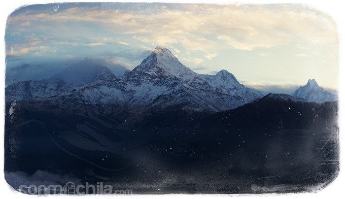 """Annapurna I, South y II, y a la derecha el """"Fish Tail"""""""