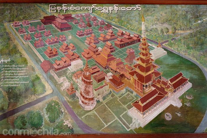 Dibujo de la zona del palacio real de Mandalay