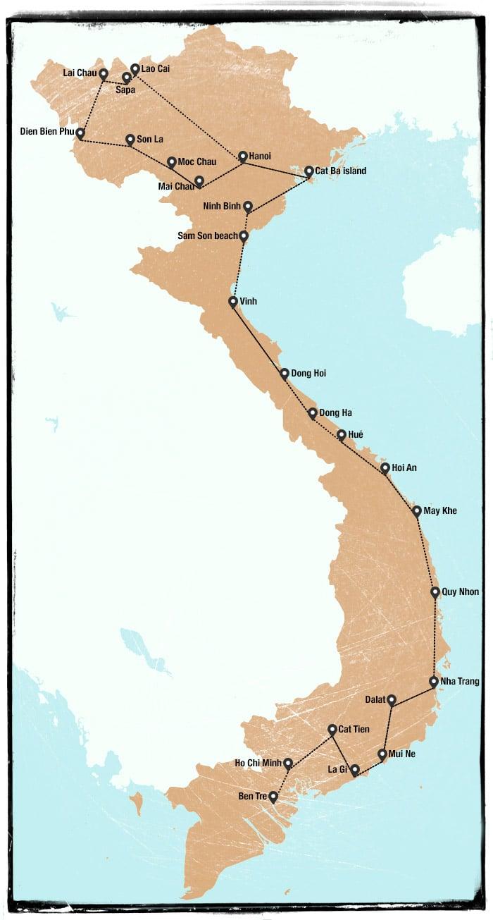 Itinerario viaje a Vietnam en 65 días