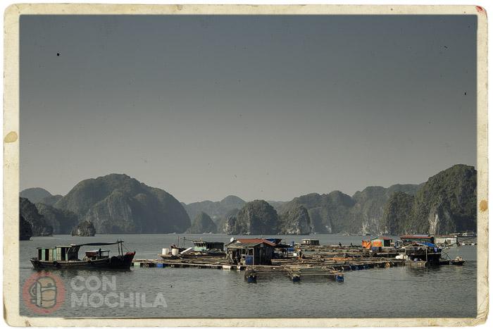 La bahía de Halong y una aldea flotante de pescadores