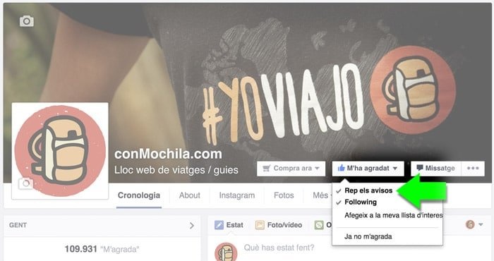 Activa las notificaciones en facebook