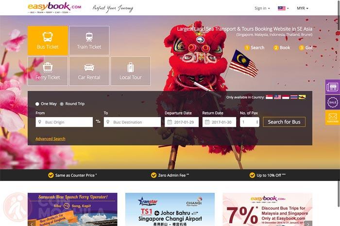 La pantalla principal de la web Easybook