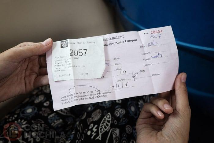 El resguardo para recoger el pasaporte