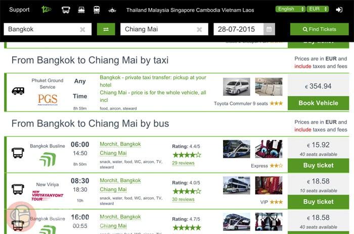 Los resultados para viajar en taxi o bus
