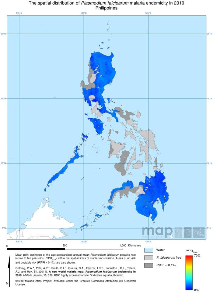 Mapa de la malaria en Filipinas
