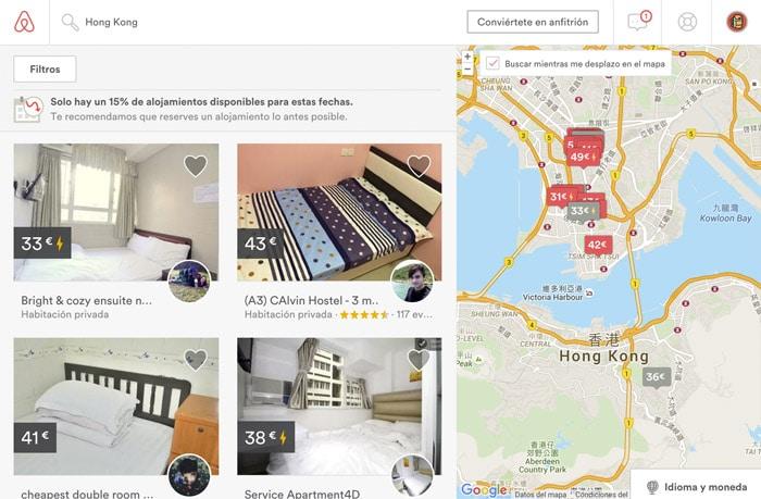 Detalle de búsqueda en Airbnb