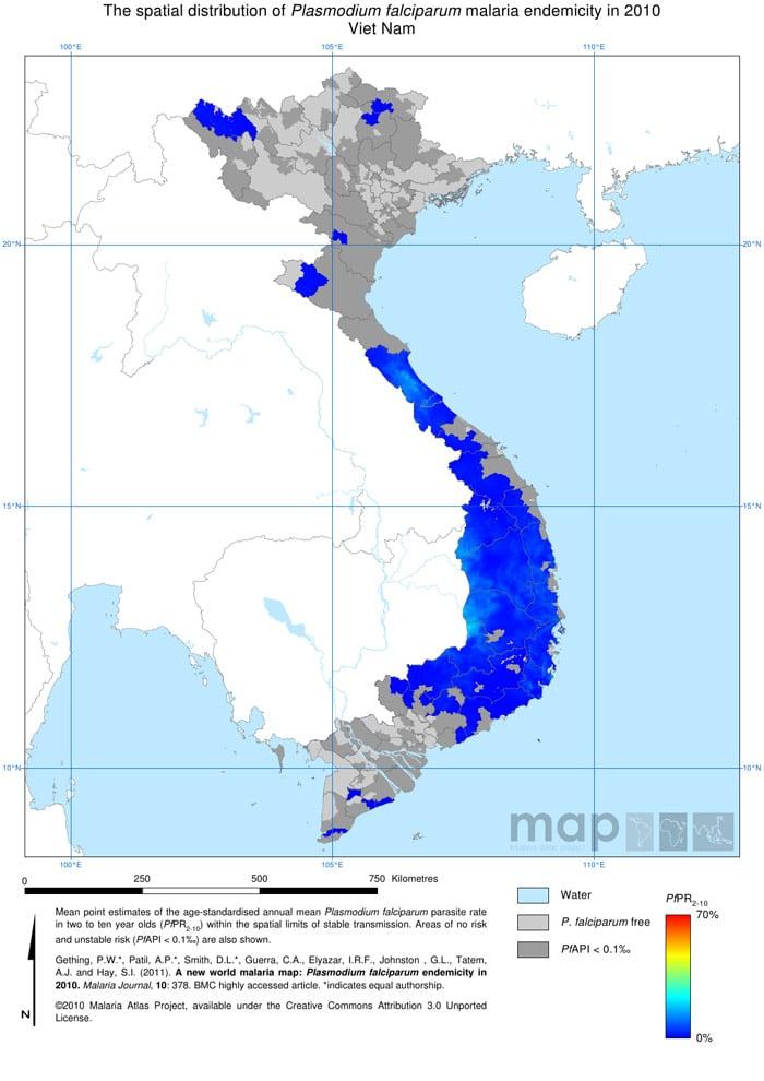 Mapa de la malaria en Vietnam