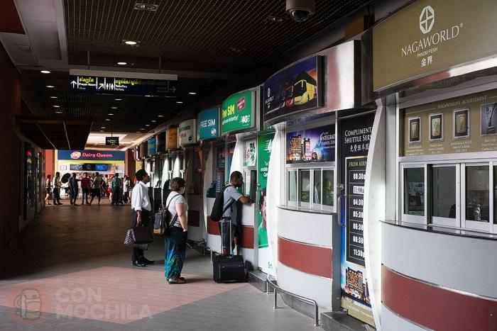 tarjeta SIM con internet en Camboya: Las mini-oficinas del aeropuerto